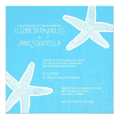 Vintage Starfish Beach Wedding Invitations