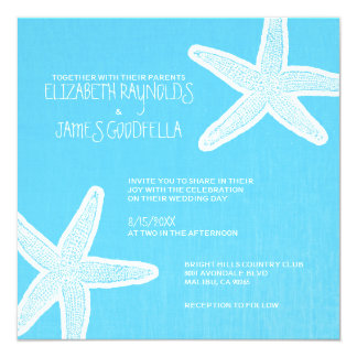 Vintage Starfish Beach Wedding Invitations Invites