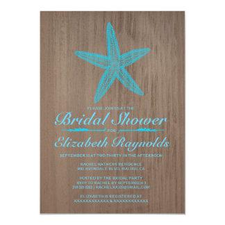 "Vintage Starfish Bridal Shower Invitations 5"" X 7"" Invitation Card"