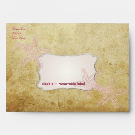 Vintage Starfish, faux parchment Envelopes