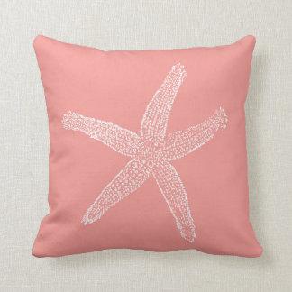 Vintage Starfish Illustration Coral Pink Throw Pillow