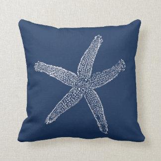 Vintage Starfish Illustration Navy Blue Throw Pillow
