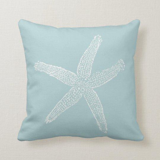 Seafoam Blue Decorative Pillows : Vintage Starfish Illustration Pastel Seafoam Blue Throw Pillow Zazzle