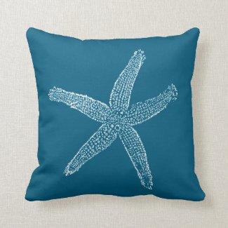 Vintage Starfish Illustration Teal Blue Throw Pillows