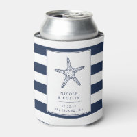 Vintage Starfish Wedding Favor Can Cooler