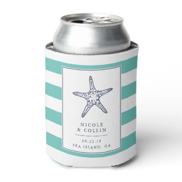 Beach Themed Vintage Starfish Wedding Favor Can Cooler | Aqua