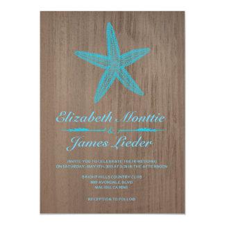 Vintage Starfish Wedding Invitations Personalized Invitation