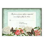 Vintage Stargazer Lily Rose Butterfly n Hydrangea 3.5x5 Paper Invitation Card