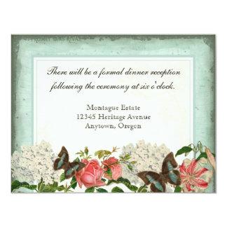 Vintage Stargazer Lily Rose Butterfly n Hydrangea 4.25x5.5 Paper Invitation Card