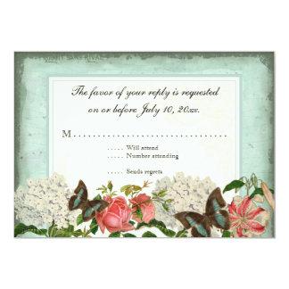 Vintage Stargazer Lily Rose Butterfly n Hydrangea 5x7 Paper Invitation Card