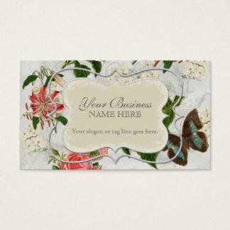 Vintage Stargazer Lily Rose Butterfly n Hydrangea Business Card