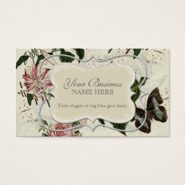 Professional Business Vintage Stargazer Lily Rose Butterfly n Hydrangea Business Card