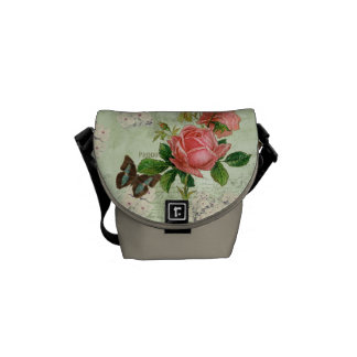 Vintage Stargazer Lily Rose Butterfly n Hydrangea Courier Bag