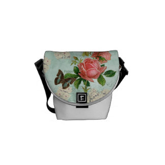 Vintage Stargazer Lily Rose Butterfly n Hydrangea Courier Bags