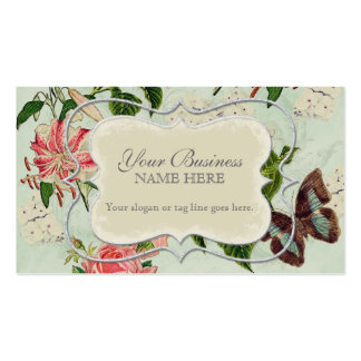 Vintage Stargazer Lily Rose Butterfly n Hydrangea Double-Sided Standard Business Cards (Pack Of 100)