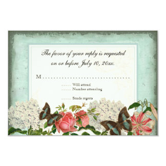 "Vintage Stargazer Lily Rose Butterfly n Hydrangea 3.5"" X 5"" Invitation Card"
