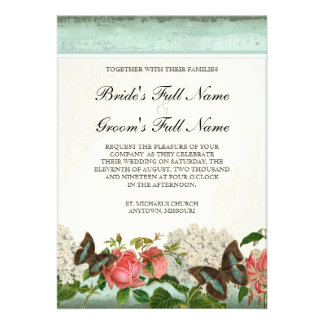 Vintage Stargazer Lily Rose Butterfly n Hydrangea Personalized Invites