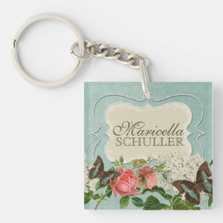 Vintage Stargazer Lily Rose Butterfly n Hydrangea Single-Sided Square Acrylic Keychain