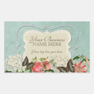 Vintage Stargazer Lily Rose Butterfly n Hydrangea Rectangular Sticker