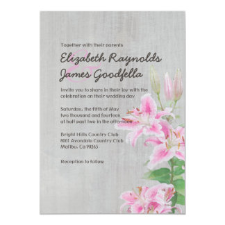 Vintage Stargazer Lily Wedding Invitations Personalized Announcements