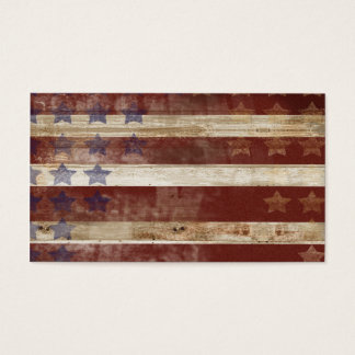 Vintage Stars And Stripes Pine Wood Pattern Business Card