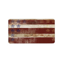 Vintage Stars And Stripes Pine Wood Pattern Label