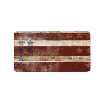 kicksdesign Vintage Stars And Stripes Pine Wood Pattern Label