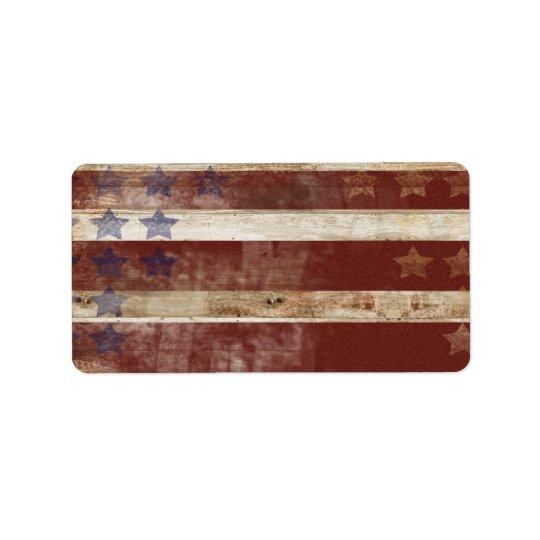 Stars Stripes Print On Natural Pine Wood: Vintage Stars And Stripes Pine Wood Pattern Label
