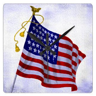 Vintage Stars and Stripes US Flag Clock