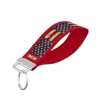 Vintage Stars & Stripes with your Initials Wrist Keychain