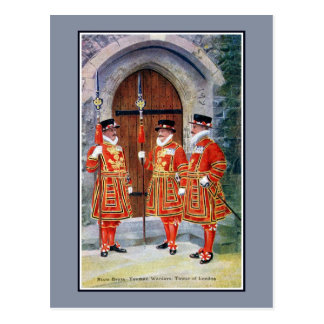 Vintage State dress Yeoman Warders Tower of London Postcard