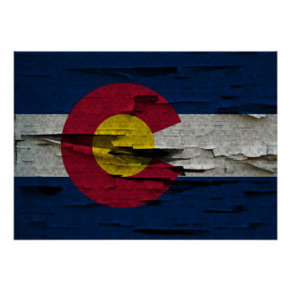 Vintage State Flag of Colorado Damask Pattern Peel Poster