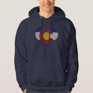 Vintage State Flag of Colorado Heart Hoodie