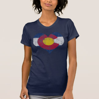 Vintage State Flag of Colorado Heart Tee Shirt