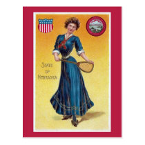 Vintage state girl Nebraska, tennis Postcard