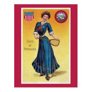 Vintage state girl Nebraska tennis Post Card