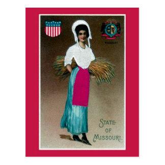 Vintage State Girl of Missouri Postcard