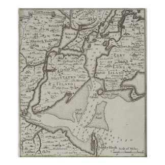 Vintage Staten Island & NYC Harbor Map (1733) Poster