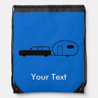 Vintage Station Wagon and RV Trailer Personalized Drawstring Bag