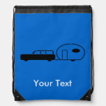 Vintage Station Wagon and RV Trailer Personalized Drawstring Backpack