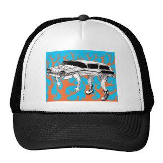 Vintage Station Wagon Blue and Orange Flames Trucker Hat