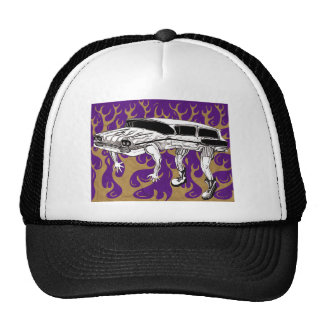 Vintage Station Wagon Purple And Yellow Flames Trucker Hat