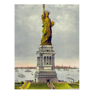 Vintage Statue of Liberty and Postcard