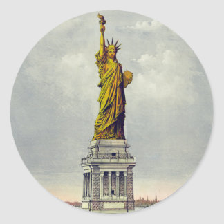 Vintage Statue of Liberty Currier and Ives Classic Round Sticker