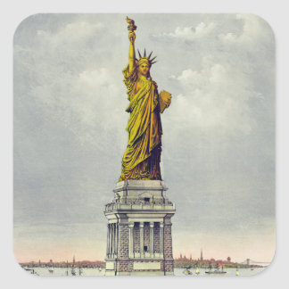 Vintage Statue of Liberty Currier and Ives Square Sticker
