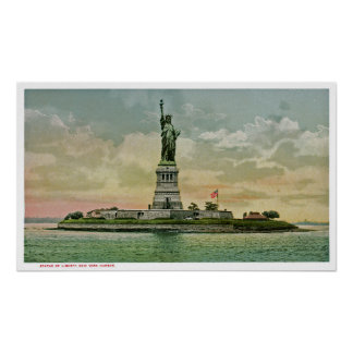 Vintage Statue of Liberty, New York Harbor Poster