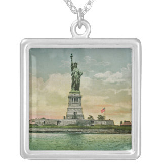 Vintage Statue of Liberty, New York Harbor Square Pendant Necklace