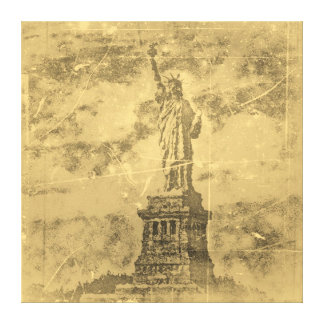Vintage Statue Of Liberty, New York Wrapped Canvas Canvas Print