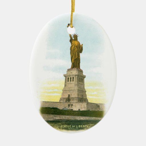 Vintage Statue of Liberty Double-Sided Oval Ceramic Christmas Ornament
