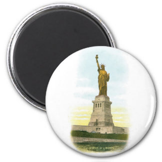 """Vintage """"Statue of Liberty"""" Poster 2 Inch Round Magnet"""